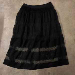 Black Lined Lace Skirt